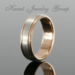 6mm Two Tone Mens Wedding Band in Rose Gold with Platinum Inlay
