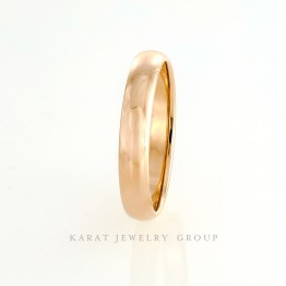 4mm. Comfort Fit Mens Wedding Band in 14k Rose Gold