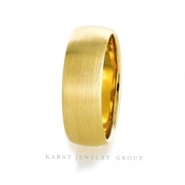 8mm Brushed Finish Mens Wedding Band in 14k Yellow Gold