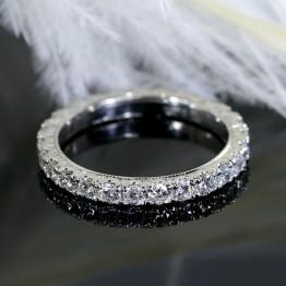 Eternity Diamond Wedding Band with Hand Engraved Design.