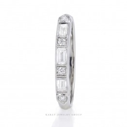 Wedding Band With Round and Baguette Diamonds in 14k White Gold