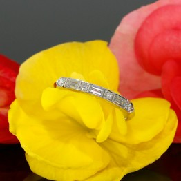Diamond Wedding Band With Baguettes in 14k White Gold