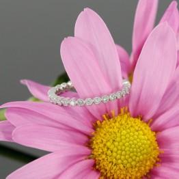 Eternity Diamond Bezel Set Wedding Band With Milgrain in 14k White Gold