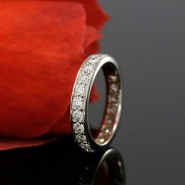 14k White Gold Eternity Diamond Wedding Band, Bead Set Ladies Wedding Ring