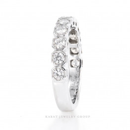 2.5mm Halfway Diamond Wedding Band, Matching Band in 14k White Gold