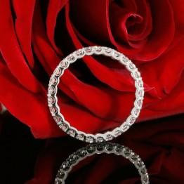 14k White Gold Eternity Diamond Wedding Band, U Prong Set Ladies Wedding Ring