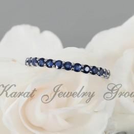 Eternity Blue Sapphire Wedding Band in 14K White Gold