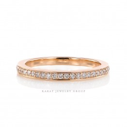 KBR-3422_1__ bead set wedding band with natural round brilliant cut diamonds and milgrain design along the edges