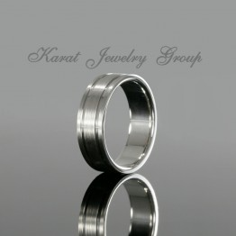 7mm Comfort Fit Mens Wedding Band in 14k White Gold