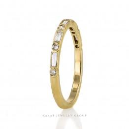 bezel set wedding band, Baguette diamond band, Yellow gold diamond band, Hinsdale custom jewelry,KBR-3440-B