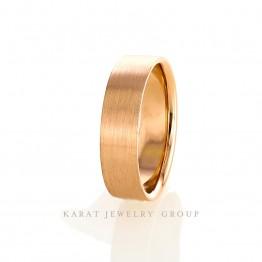 6.5mm wide 14k Rose Gold Mens Wedding Band in Satin Finish.