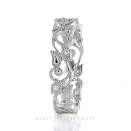 kbr-4030 WITH BAR-2 Diamond Wedding Band with Floral Milgrain Design in 14k Gold.jpg