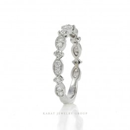 Diamond Wedding Band with Mill-grained Edges