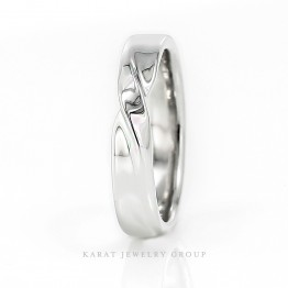 4.5mm Infinity 14K White Gold Men's Wedding Band