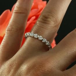 14k White Gold Eternity Diamond Wedding Band, Prong Set Ladies Wedding Ring.