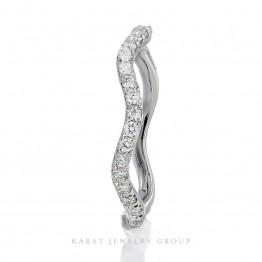 14K White Gold Wavy Diamond Eternity Band, Wavy Ring, Wedding Ring