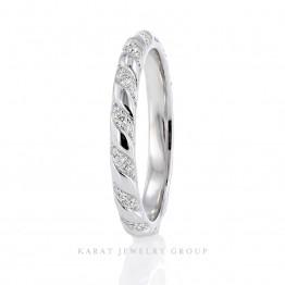 Eternity Diamond Wedding Band, Swirl Diamond Wedding Ring in 14k White Gold