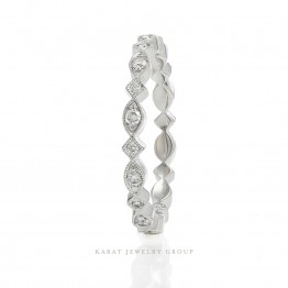 Eternity Diamond Wedding Band, Diamond Wedding Ring with Milgrain in 14k White Gold