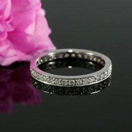 Three Quarter Wedding Band with Natural Diamonds, Wedding Ring With Milgrain.