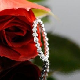 14k White Gold Eternity Diamond Wedding Band, Prong Set Ladies Wedding Ring