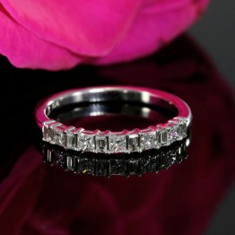 Almost Halfway Diamond Wedding Band, Baguette and Princess Wedding Ring in 14k White Gold