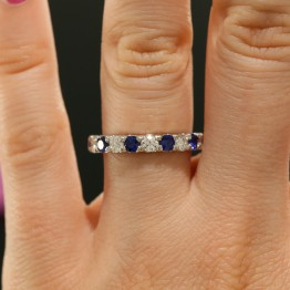 Diamond and Sapphire Wedding Band in 14K White Gold