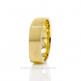 6.0mm Square Comfort Fit Yellow Gold Men's Wedding Band