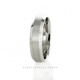 6mm Comfort Fit Mens Wedding Band with Beveled Edges in 14k White Gold