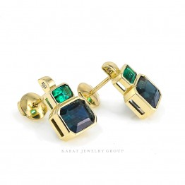 Blue Sapphire & Emerald Cocktail Earrings