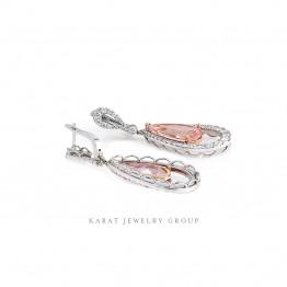 Pink Morganite and Diamond Drop Earrings.