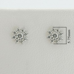 Diamond Cluster Stud Earrings in 14k white gold