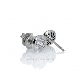 Natural Diamonds (0.48cttw) Bezel Stud Earrings