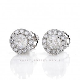 Rose Cut Diamond Halo Stud Earrings
