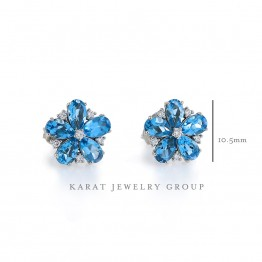 Blue Topaz & Diamond Flower Stud Earrings
