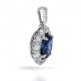 3.07CT. Oval Genuine Blue Sapphire Diamond Halo Pendant Necklace