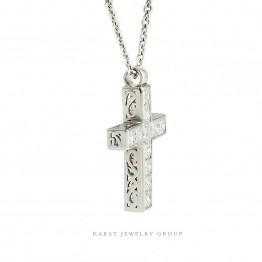 Princess Cut Diamond Cross Pendant In White Gold