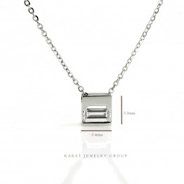 0.24ct. Bezel-Set Emerald Cut Diamond Pendant