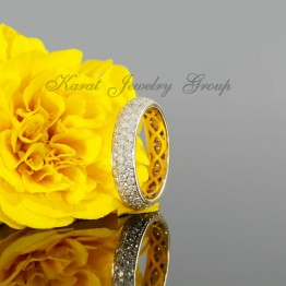 Ladies Eternity Pave Wedding Band in 14k Yellow Gold