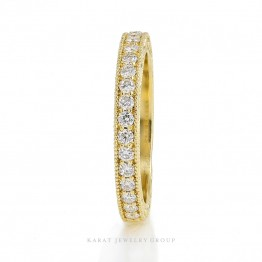 Half Eternity Wedding Band with Natural Diamonds, Engraving and Milgrain Design