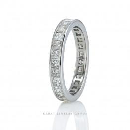 Ladies Eternity Square Cut Diamond Wedding Band in 14k White Gold