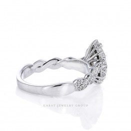 Marquise Shape Halo Engagement Ring Mounting in 14K Gold