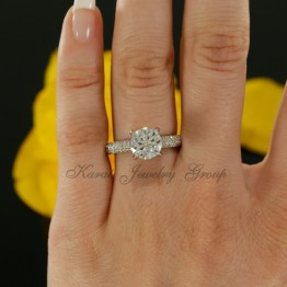 Solitaire Engagement Ring Mounting with Diamonds in 14K White Gold