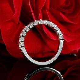 14k White Gold Halfway Eternity Diamond Wedding Band, Matching Wedding Band