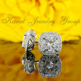 Diamond Stud Halo Earrings Mountings (center stones not included)