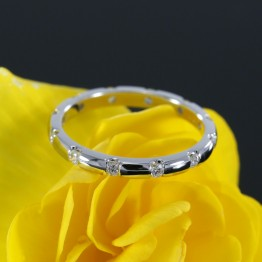 Eternity Diamond Wedding Band, Channel Set Diamond Wedding Ring in 14k White Gold