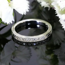 Antique Style Diamond Wedding Band with Millegrain Edges