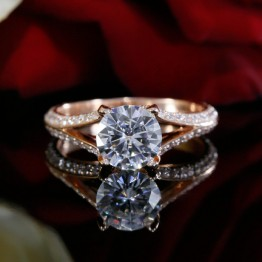 Round Diamond Solitaire Engagement Ring Mounting in 14K Rose Gold