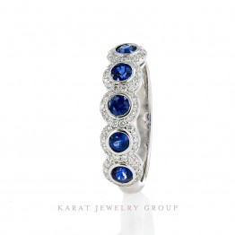14k White Gold Wedding Band with Diamonds and Blue Sapphires