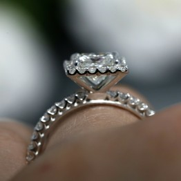 KR-4655-C, Princess Cut Diamond Halo Engagement Ring