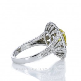 1.02ct Yellow Diamond Double Halo Engagement Ring with Yellow and White Diamonds in 18k White and Yellow Gold, PGS Certified Pear Shape Ring